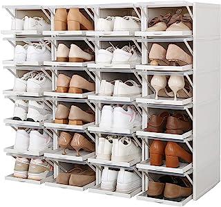 AAGYJ Boîte à Chaussures en Plastique Transparent 24 pièces, Organisateur de Rangement de Chaussures empilable, boîtes à C...