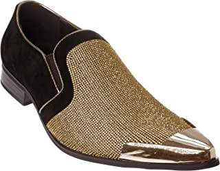 Cristiano Mens Slip-On Fashion-Loafer Sparkling-Glitter Metal-Tip Dress-Shoes
