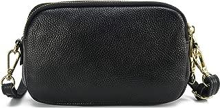 Genuine Leather Crossbody Bag for Women, Triple Zip Leather Small Wristlet Shoulder Purse