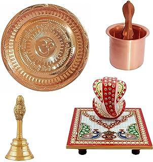 Himshikhar || Green World Pooja Samagri || Combo of Copper Plate/Copper Panch Patra/Garuda Ghanti/Marble Ganesh Chowki for...