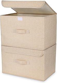 DIMJ Lot de 2 boîtes de rangement avec couvercle avec poignée lavable beige