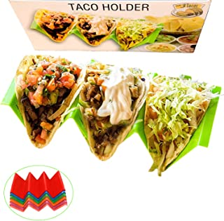 QIZON Taco Holder Stand set of 6 Large Size Taco Truck Tray Plate Organized for Taco Tuesdays Game Changer - Holds 3 Tacos, Very Sturdy, Dishwasher Microwave Safe - The Perfect Gift for Kids and Wife