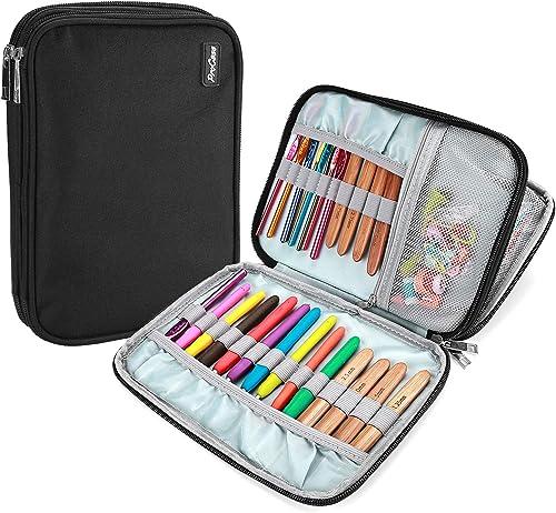 ProCase Crochet Hook Case (up to 9 Inches), Travel Organizer Zipper Bag for Various Crochet Hooks, Interchangeable Ci...
