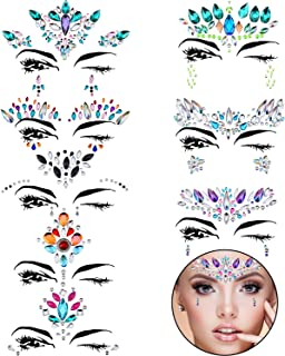 TOODOO 8 Sets Face Gems Rhinestone Colorful Sticker Tattoo Jewelry Stick on Face Festival Jewels for Forehead Body Decorations (Style 6)