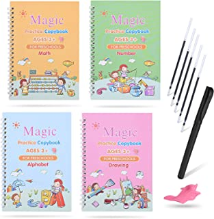 Magic Practice Copybook for Kids, LAWIND 4PC Reusable Writing Practice Book Set with Disappearing Ink Pen, Calligraphy Tra...