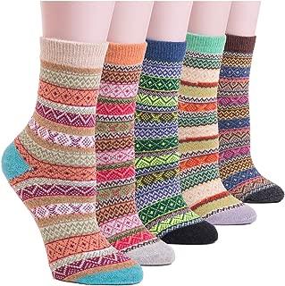 YOMORES Women Socks 5 Pack Vintage Style Cotton Knitting Wool Warm Winter Fall Crew Socks