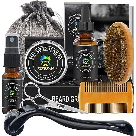 Beard Growth Kit,w/Beard Roller,Beard Growth Oil,Beard Balm,Beard Roller Cleanser,Comb,Brush,Scissor,Bag,E-Book,Beard Care Grooming Kit for Beard Growth,Stocking Stuffers Gifts for Men Him Husband Dad