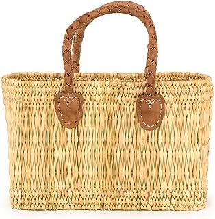 Moroccan Straw Handbag w/ Brown Braided Handles, 14