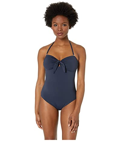 MICHAEL Michael Kors Tie Front Bandeau One-Piece with Removeable Soft Cups Removeable Straps (New Navy) Women