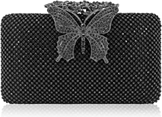 DEXMAY DM womens Butterfly Crystal Clutch