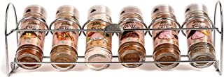 Himalayan Chef 6 Piece Pink Salt and Seasoning Glass Shaker With Standing Chrome Wire Rack,100% naturally pure
