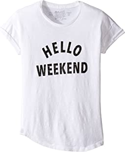 Hello Weekend Crew Neck Slub Tee (Big Kids)