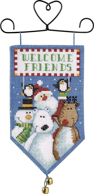 Dimensions Needlecrafts Counted Cross Stitch, Santa & Friends Mini Banner