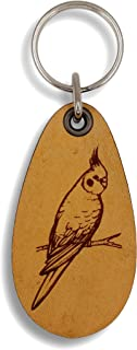 ForLeatherMore - Cute Budgie - Genuine Leather Keychain - Pet Key Fobs