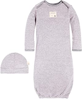 Burt's Bees Baby - Unisex Sleeper Gown & Hat Set, One Size, 0-6 Months, 100% Organic Cotton