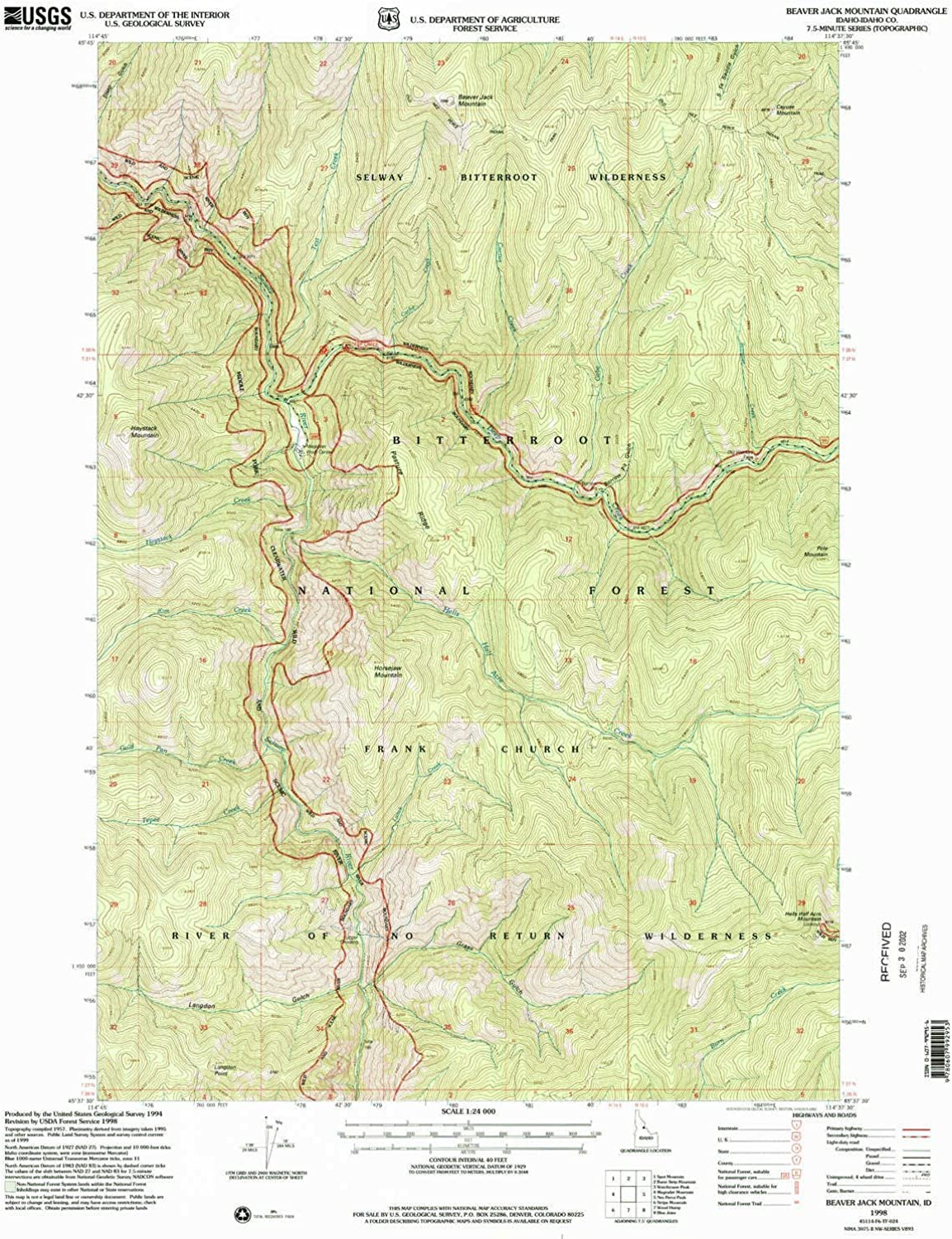 Beaver Jack Mountain ID topo map, 1 24000 Scale, 7.5 X 7.5 Minute, Historical, 1998, Updated 2002, 26.8 x 22 in