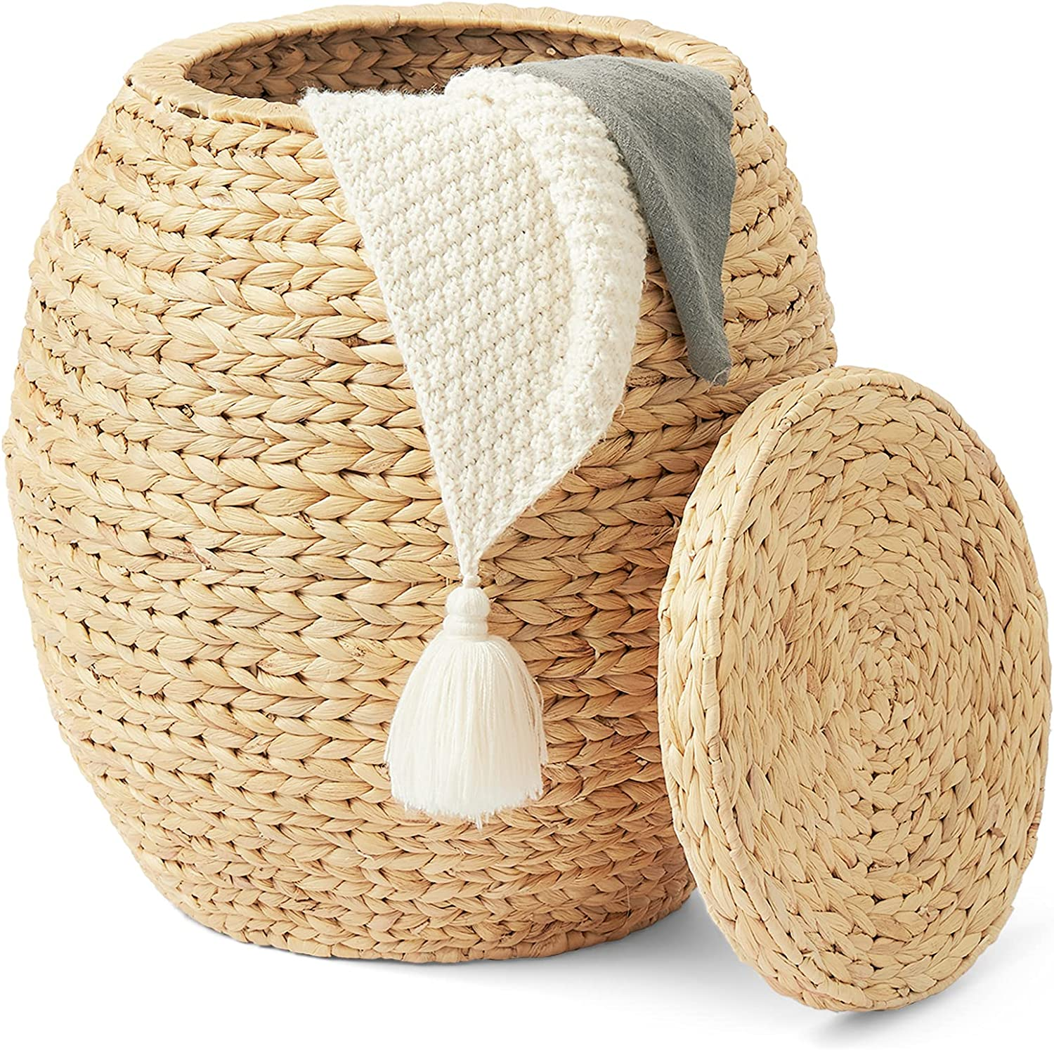 Artera Large Wicker Storage Baskets - Natural Multipurpose Barrel Storage Tub with Lid, Woven Water Hyacinth Basket for Organizing, Plant Décor, Organizer Tote for Bedroom, Living Room, Bathroom