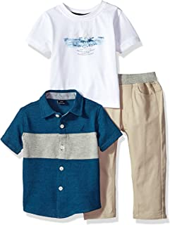 Nautica Boys' Short Sleeve Button Up, Tee and Twill Pant Set