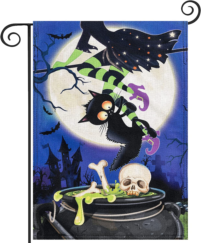 Hogardeck Halloween Garden Flag, Black Cat Witches Legs Garden Decorations Outdoor, Burlap Double Sided Vertical Halloween Porch Decor, Halloween Yard Flag Signs 12.5 x 18 Inches