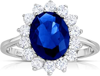 Unique Royal Jewelry Sterling Silver Created Sapphire CZ with White CZ Halo Jacket Princess Diana Kate Engagement Ring