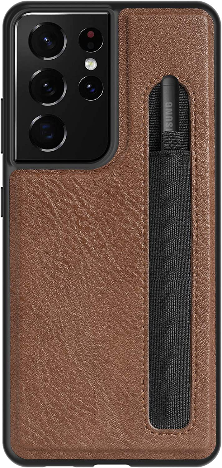 Samsung Galaxy S21 Ultra Case with S Pen Holder Slot, Luxury Leather Anti-Fingerprint Back Cover Soft TPU Bumper Frame Built-in Elastic Pen Holder Case for Galaxy S21 Ultra 5G