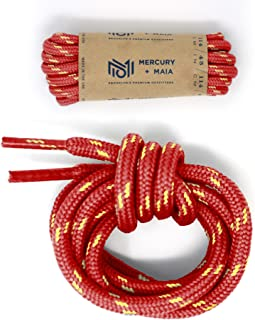 Honey Badger Work Boot Laces Heavy Duty W/Kevlar - USA Made Round Shoelaces for Boots - Red Nat