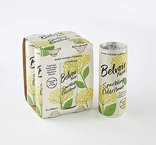 Belvoir Sparkling Elderflower Juice Cans, 250 ml (Pack of 4)
