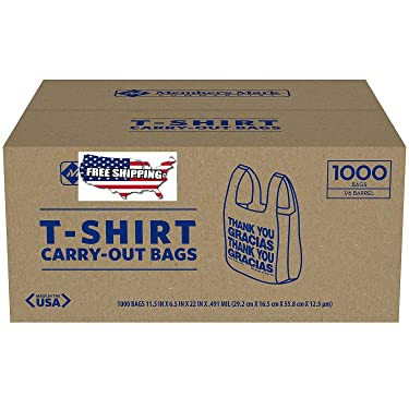 tongta 1000 T-Shirt Thank You Carry Out Retail Plastic Bags Recyclable Grocery Shopping (1-Case)