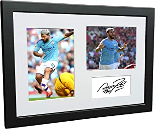 12x8 A4 Signed Sergio Aguero Manchester City Autographed Photo Photograph Picture Frame Football Soccer Poster Gift