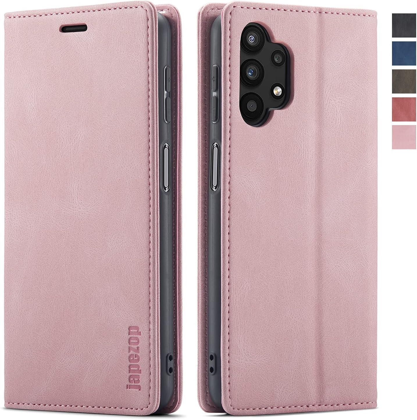 Samsung Galaxy A32 5G Case,Samsung Galaxy A32 5G Wallet Case with [RFID Blocking] Card Holder Kickstand Magnetic,Leather Flip Case for Samsung Galaxy A32 5G (Pink)