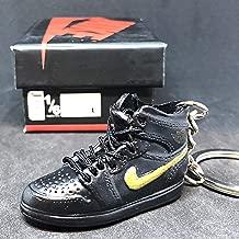 Air Jordan I 1 Retro Black Gold BHM Black History Month OG Sneakers Shoes 3D Keychain Figure 1:6 + Shoe Box