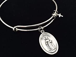 Saint Dymphna Medal Silver Expandable Charm Bracelet Patron Saint of Stress, Anxiety and Mental Health Adjustable Bangle One Size Fits All Gift Custom and Personalization Options Available