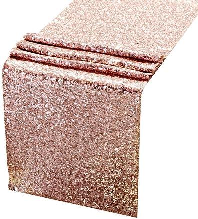 ACRABROS 14 x 108 Premium Quality Sequin Table Runner, Rose Gold
