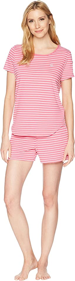 LAUREN Ralph Lauren Striped Knit Short Sleeve Boxer Set