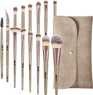 Make-upborstels MAANGE 15-delige make-upborstelset met make-uptasje, professionele make-upborstels Premium synthetische fo...
