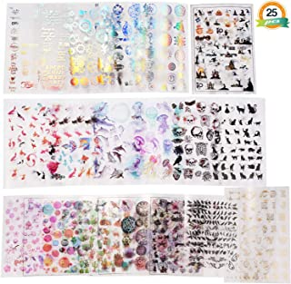 LET'S RESIN 25 Sheets Resin Art Supplies Kit,Transparent Decorate Stickers for Silicone Resin Molds, Resin Crafts Materials with Holographic Clear Film, Halloween Stickers, Skull Stickers, Etc