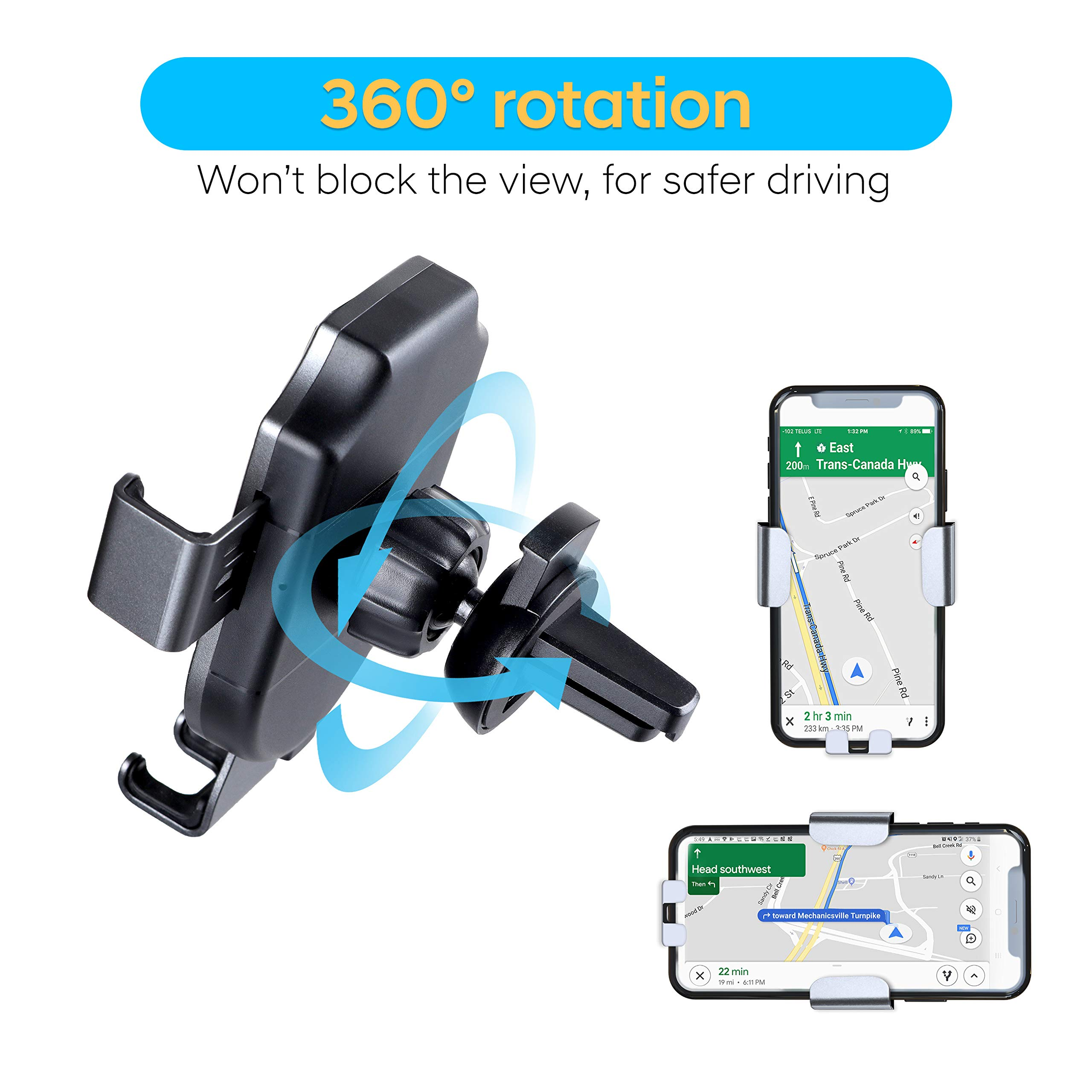 Auto Clamping Air Vent Charging Phone Mount of Car Teekva Gravity Wireless Charging Car Mount Delivers Lightning-Fast 10W 7.5W Charging for Most iPhone Samsung LG Nokia Xiaomi Google Nexus Models