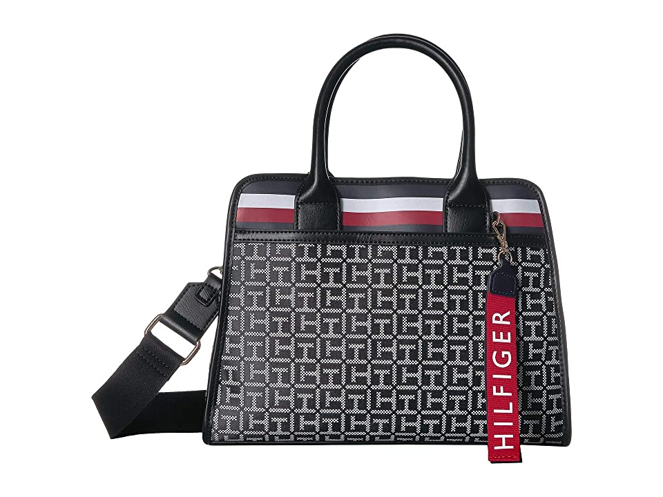 Tommy Hilfiger Gianna Satchel (Black/White) Handbags
