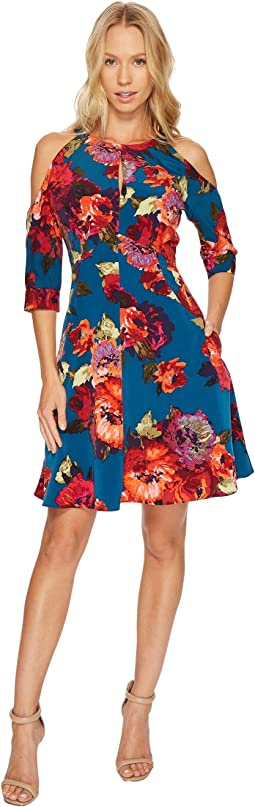 Cold Shoulder Fit and Flare Dress