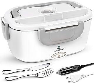 TRAVELISIMO Lunch Box Chauffante Électrique 2 en 1 pour Voiture/Camion et Bureau 220V & 12V 40W, Gamelle Chauffante Acier ...
