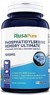 Phosphatidylserine 1000mg 200caps (Non-GMO & Gluten Free) Nootropic Brain Supplement - Mental Clarity, Memory, Focus and Brain Booster