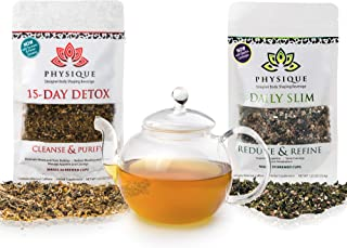Physique Tea Ultimate Body Cleanse & Slimming Tea | Custom Blends to Reduce Bloating, Hunger and a Fat Tummy | Garcinia Cambogia & Turmeric Anti-Inflammatory & No Laxative Tea | Detox Diet Included