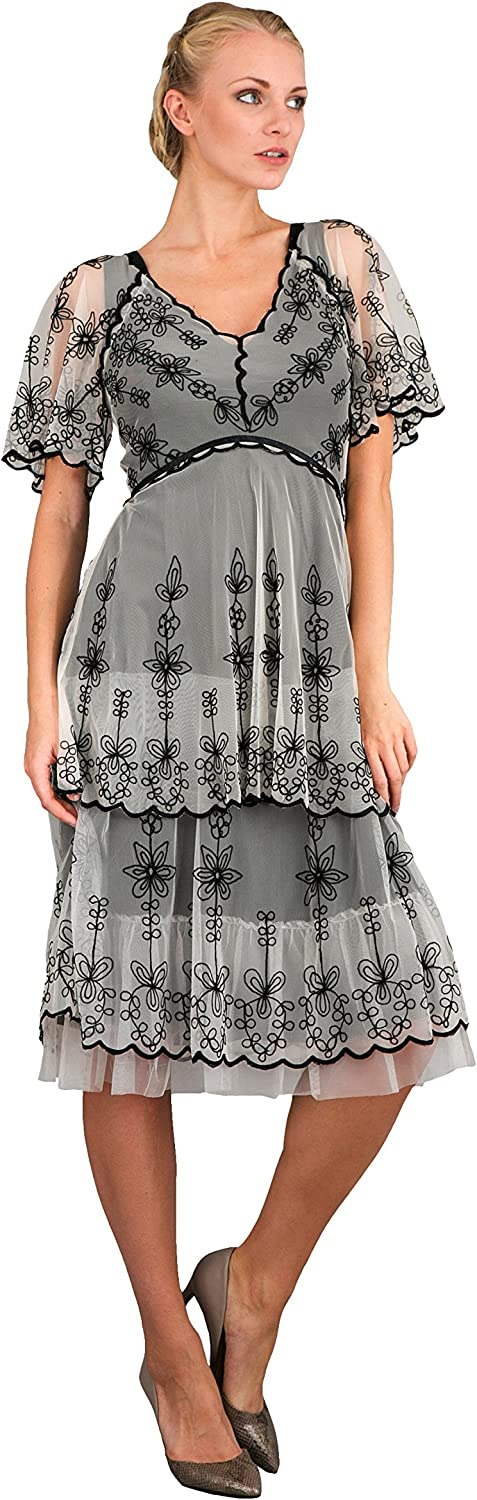 Women's Vintage Inspired Party Dress in Black/Ivory