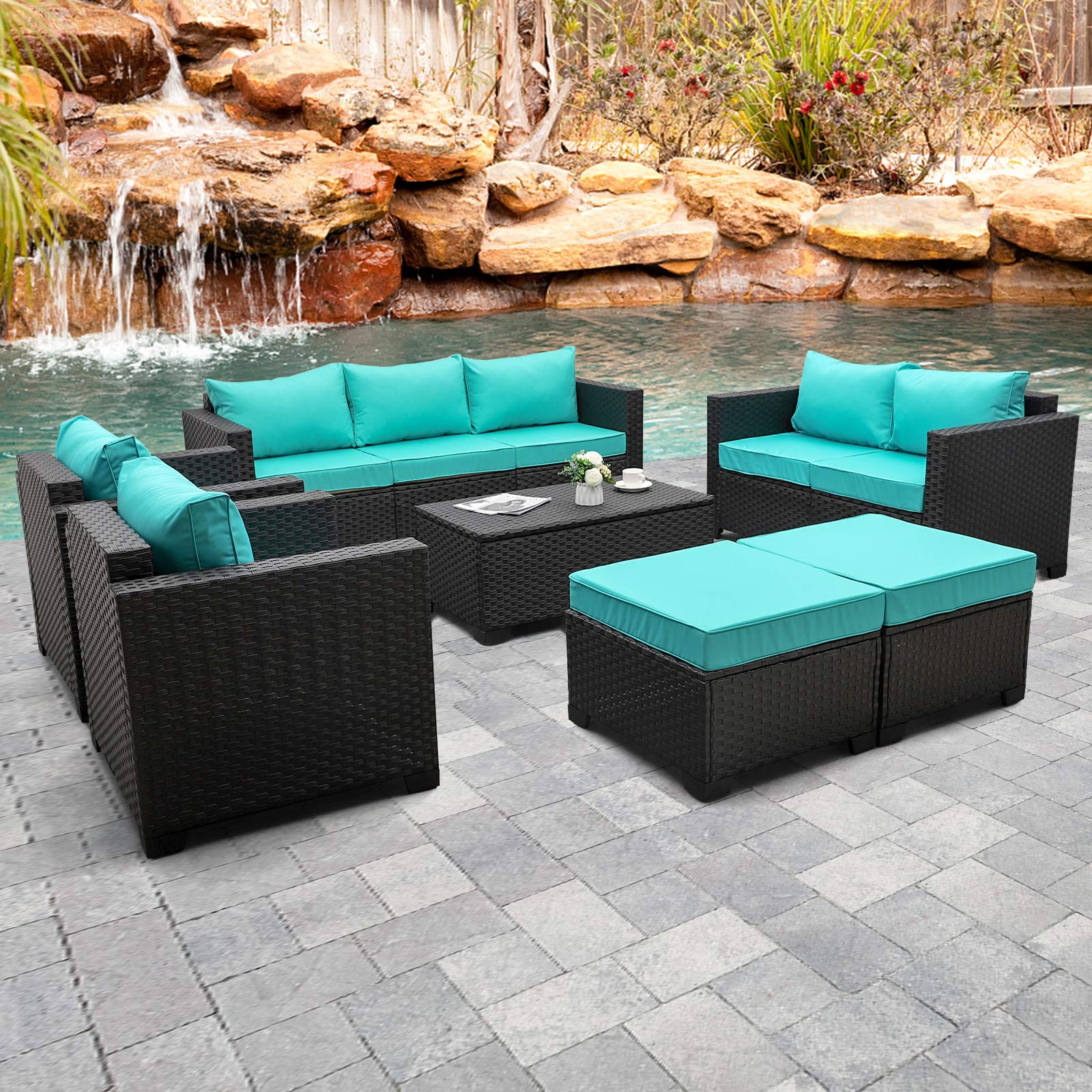 Rattaner Outdoor PE Wicker Furniture Set 7 Pieces Patio Garden Conversation Cushioned Seat Couch Sofa Chair Set with Turqu...