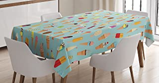 Ambesonne Ice Cream Tablecloth, Mix of Yummy Dessert with Chocolate and Fruit Flavor Toppings Cones Illustration, Dining Room Kitchen Rectangular Table Cover, 60