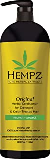 Hempz Original Herbal Conditioner for Damaged and Color Treated Hair, White, Floral/Banana, 33.8 Fluid Ounce