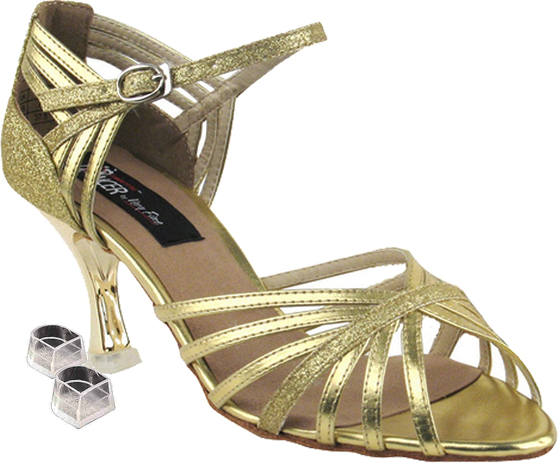 Very Fine Women's Salsa Ballroom Tango Latin Dance Shoes Style CD3012 Bundle with Plastic Dance Shoe Heel Protectors, Gold & Gold Stardust 5.5 M US Heel 3 Inch