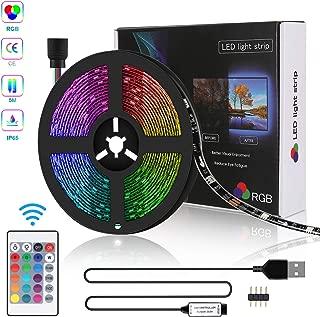 Tira LED 5M USB, Zorara Tiras Led Iluminación RGB con Chip SMD 5050 Tira de LED Retroiluminación de TV IP65 150 LED Multicolor Control Remoto de 24 Botones [Clase de eficiencia energética A+] (5M)