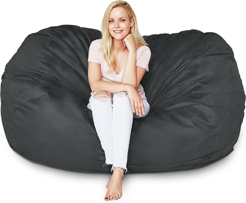 Lumaland Premium Riesen-Sitzsack 6 Foot XL 125 x 185 cm Bean Bag 920L Füllung 100% Polyester Bezug in Wildleder-Optik Sitzkissen für Kinder Jugendliche und Erwachsenein Schwarz