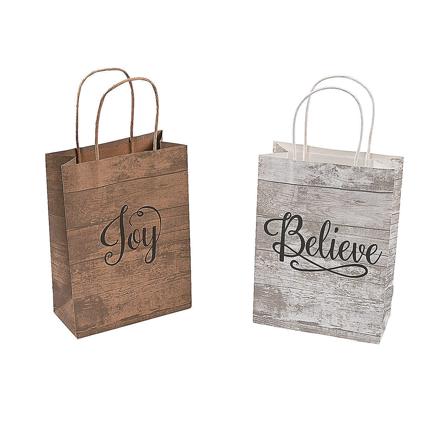 Fun Express Religious Medium Kraft Bags | 12 Count | Great for Christmas Parties, Holiday Celebrations, First Communion Gifts